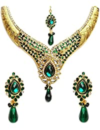 Shining Diva Traditional Kundan Jewellery Set / Necklace Set With Maang Tikka And Earrings For Girls / Women