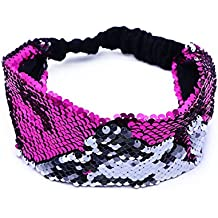 LUOEM Sirena con lentejuelas diadema reversible lentejuelas banda de pelo acolchada Alice Band para niñas regalo