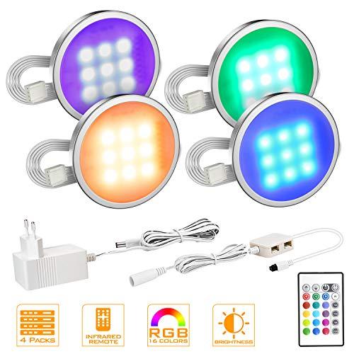 MYPLUS 4er Set LED Unterbauleuchte, RGB Deckenleuchten Schrankleuchten Mit 4 Blinkende Modi 16 Farbwechsel Lichter, 12V Adapter LED Küchenlampen Stimmungslichter Vitrinenbeleuchtung [Energieklasse A+]