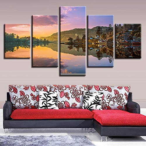 Leinwand Bild auf Leinwand Leinwanddruck 5 Einheiten Mountain Natural Lake Reflection Malerei Landschaft Poster Modular