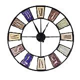 Uhr Metall Antik 60cm Wanduhr Dekouhr Wand Uhr Büro Wohnzimmer Metalluhr Retro