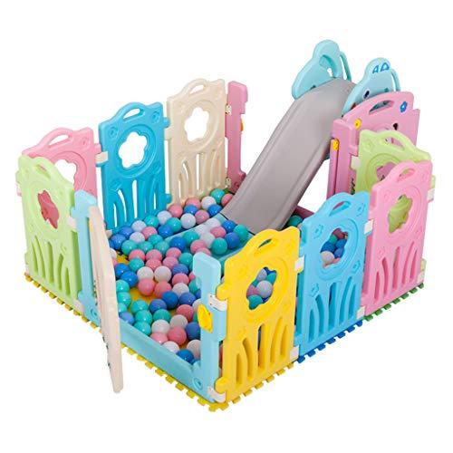 CHULQY Cerca para BebéS, áRea De Juegos para NiñOs con TobogáN Interior Alfombra para Gatear para BebéS En Casa Cerca De Parque PortáTil De PláStico