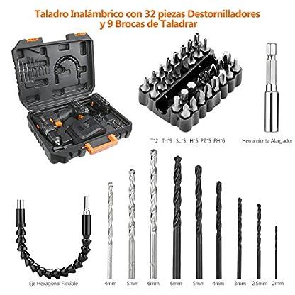 Tacklife pcd05b taladro atornillador a batería 18V con 2baterías de litio (2.0Ah), 2velocidades con 19+ 1posiciones par Max 30N.M, 43accesorios, carga rapida de 1hora, portabrocas de 10mm