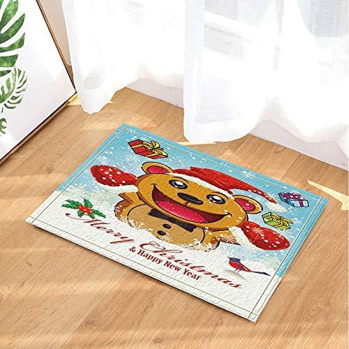 XHWL767 Weihnachtsbadeteppiche Karikatur-Teddybär-Geschenkbox im Schnee 40x60CMDoor Haustür-hintere Badezimmermattenzusätze -