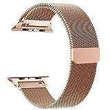 Volasal für Apple Watch Armband 42mm, Milanese Schlaufe Edelstahl Smart Watch Armbänder mit einzigartiger Magnetverriegelung für Apple Watch Armband 42mm Series 3/2/1, Rose Gold