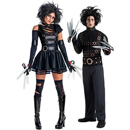 m Mr & Mrs Edward mit den Scherenhänden Halloween Party Verkleidung Outfit - Schwarz, Ladies UK 8-10 Mens STD (Halloween Edward Mit Den Scherenhänden Kostüm)