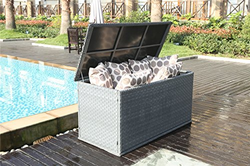 Yakoe 21219 147x67x70 Cm Waterproof Rattan Garden Storage Box Foldable  Cushion Chest Unit Patio Furniture ... Part 77