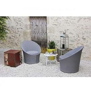 Salon de jardin - Salon de jardin Batam - 2 places - Gris Argent / Blanc