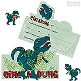 6 Einladungskarten * DINOSAURIER / T-REX * für Kindergeburtstag und Party von DEKOSPASS // Kinder Geburtstag Party Kinderparty Dinoparty Einladung Einladungen Karte Einladungs-Set Motto MottopartyKreidezeit Jura Dino Dinos Tyranno Saurus Rex