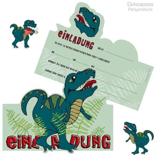 6 Einladungskarten * DINOSAURIER / T-REX * für Kindergeburtstag und Party von DEKOSPASS // Kinder Geburtstag Party Kinderparty Dinoparty Einladung Einladungen Karte Einladungs-Set Motto MottopartyKreidezeit Jura Dino Dinos Tyranno Saurus Rex (Geburtstag Karte T-rex)
