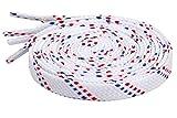 Schnürsenkel Flach Flachsenkel Streifen für Lässige Outdoor Schuhe Wanderschuhe Sportschuhe Turnschuhe Stiefel Twill - 8mm breit Weiß-Rot-Blau 140 CM