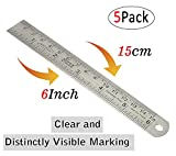 5 Pack Stainless Steel Ruler 6 inch (15cm) Double Side Measuring Scale Mark Rule for Office Woodworking Engineering