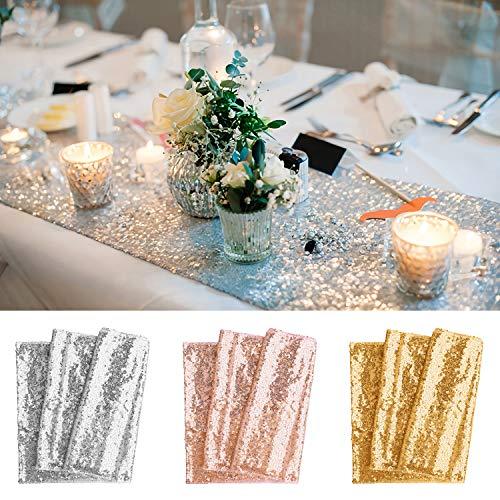 BeeViuc 30 x 180 cm Glitter Pailletten Tischläufer Sparkly Hochzeit Party Décor, Gold