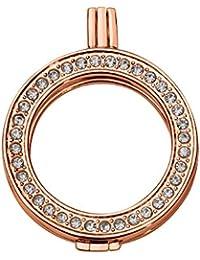 Quiges Rosegold Kupfer Auswechselbarer Coin Anhänger Münzfassung 33mm Large mit Zirkonia