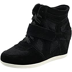 Rismart Donna Zeppa Hook & Loop Caviglia Inteligente Tessuto Pelle Scamosciata Sneaker Scarpe, Nero, 39 EU