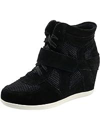 Rismart Mujer Zapatos Formal Oculto Tacón Cuña Gamuza Tela Zapatillas