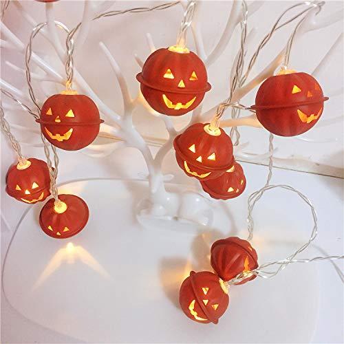 Qsoleil luci a led a forma di zucca, per halloween, 2 m, a batteria, 3d, a forma di zucca, 10 pezzi