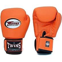 Twins Special–Guantes de boxeo piel de Velcro en la muñeca Piel de vacuno color naranja 12onzas)