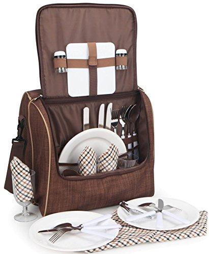 Brubaker Picknicktasche für 4 Personen Schultertasche mit Kühlfach Braun 35,5 × 24,5 × 33 cm
