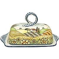 CERAMICHE D'ARTE PARRINI- Ceramica italiana artistica , burriera decorazione paesaggio