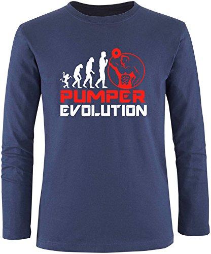 EZYshirt® Pumper Evolution Herren Longsleeve Navy/Weiss/Rot