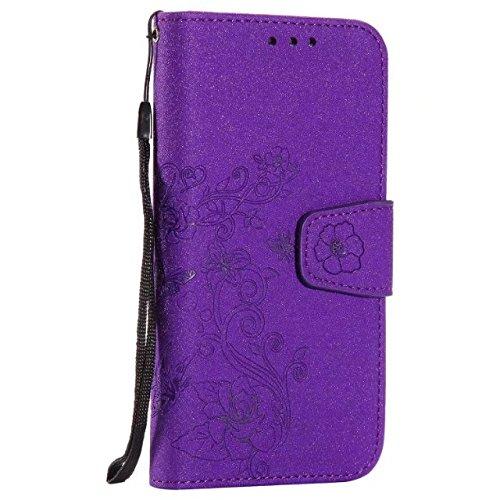Abnehmbare 2 in 1 PU + TPU Ledertasche geprägte Blumen Stil glänzende Sparkles Brieftasche Stand Case Cover mit Kreditkarte Slots & Lanyard & Magnetic Closure für Samsung Galaxy S6 Rand ( Color : Brow Purple