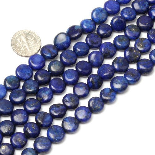 10mm Coin Lapis Lazuli Beads Strand 15 Inch Jewelry Making Beads by Sweet & Happy Girl's Gemstone Art Beads