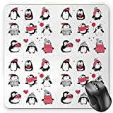 BGLKCS Winter Mauspads Mouse Pad, Cute Penguins Hand Drawn Merry Christmas Greetings Babies Kids Toddler, Standard Size Rectangle Non-Slip Rubber Mousepad, Dark Coral Black White