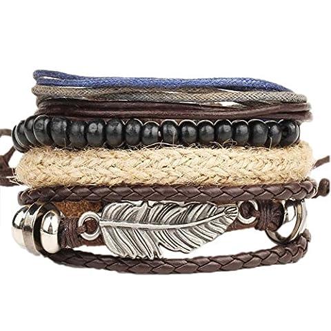 Oyedens Mode Hommes Tressé Cuir Inox Poignet Bracelet Bracelet Bracelet, Brun
