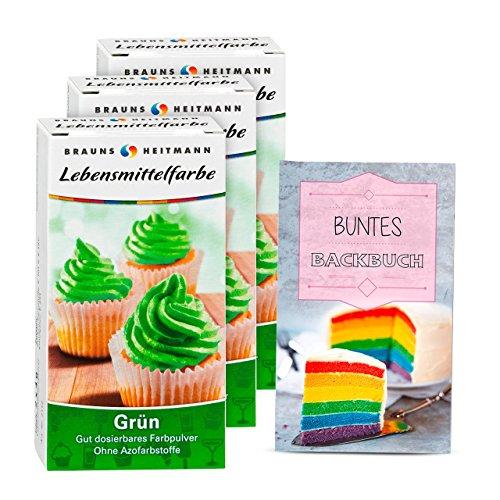 Brauns Heitmann Lebensmittelfarbe in Grün 2112 , 3er Pack - Farbpulver frei von AZO-Farbstoffen -Lebensmittelfarbpulver zum Verzieren von Backwaren, Füllungen, Cremes, Desserts - geschmacksneutraler Naturfarbstoff (Grüne Lebensmittel)