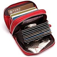 Nuova borsa delle donne genuina di cuoio Mini portafoglio carta titolare Zip piccola moneta frizione