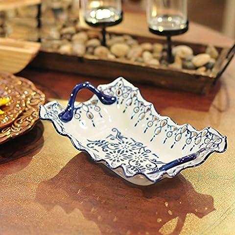Blu e bianco della porcellana piatto di frutta Hollow di ceramica creativa della moda moderna snack decorativi frutta secca Candy Piastra ( dimensioni : M )