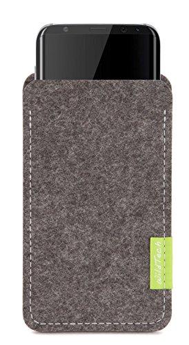 WildTech Sleeve für Samsung Galaxy S9 Plus / S8 Plus (6,2 Zoll) Hülle Tasche aus echtem Wollfilz (Handmade in Germany) - Grau