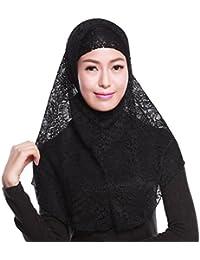 iBaste Kopftuch Damen Muslim Kopftuch Spitzen Hijab Islamischen Schal Weicher Einfarbig