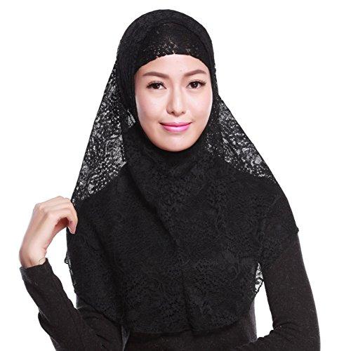 Hankyky Damen Muslim Hijab Kopftuch Cap Spitze Lange Schals Cape Schal Wrap Hijab Arabien Islam Turban Kopftuch + Hijab Underscarf Cap