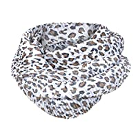 Cattliy Women Soft Leopard Chiffon Print Convertible Infinity Loop Scarf Scarves Ladies Winter Solid Infinity Wrap Hidden Loop Zipper Pocket Couple Scarves Soft Breathable Shawl Wrap Scarf (White)