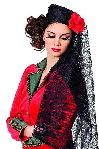 Jannes 9240 Spanier-Hut Carmen für Damen Spanierin Torero mit roten Kugeln Stierkämpfer Matador Gringo Flamenco Erwachsene Einheitsgröße Schwarz