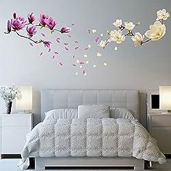 """Walplus """"Magnolia Flores extraíble Adhesivo Pared Pegatinas murales Nursery Oficina decoración del hogar"""