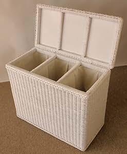 rattan w schesortierer w schekorb 3 f cher einteilung fb wei lackiert k che. Black Bedroom Furniture Sets. Home Design Ideas