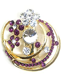 Saree Pin Brooch For Women, Girls & Men, Gold Tone, Rani Color Stone Stud