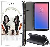 Samsung Galaxy S5 / S5 Neo Hülle Premium Smart Einseitig Flipcover Hülle Samsung S5 Neo Flip Case Handyhülle Samsung S5 Motiv (1596 Französische Bulldogge mit Kopfhörer Hund)