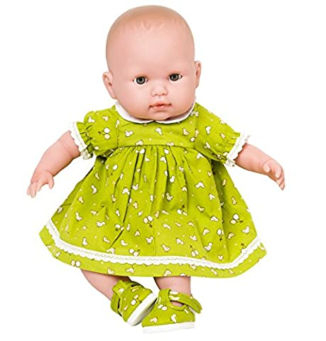 New for Spring !12-14 inch Dolls Green Dress with Tiny Chick and Balloon design, from Frilly Lily .Suitable for dolls 12-14 INCHES [30-35 CM]such as GOTZ,COROLLE,ZAPF,MY LITTLE BABY BORN,MY FIRST BABY ANNABELL. DRESS ONLY , DOLL OR SHOES NOT