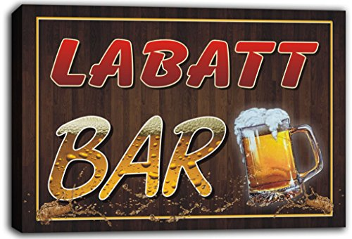 scw3-098531-labatt-name-home-bar-pub-beer-mugs-cheers-stretched-canvas-print-sign