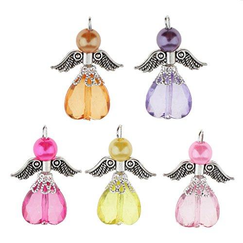 FITYLE 5 Stück DIY Bastelset Engel Anhänger Fee Flügel Anhänger Perlenengel Acryl Perlen Beads Kugeln Schmuckanhänger Kinderschmuck -