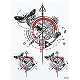 Líneas Tattoo Line Tattoo Brújula grafische geométrico Tatuajes Negro y Rojo Fake Tatuajes HB900