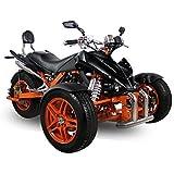 AUFGEBAUT EEC Spy Prime Trike ST14 350cc 2 Pers. Autobahn Zulassung 6-Gang Manuell + Rückwärtsgang Quad ATV Bike (Metallic Blau mit Schwarzen Akzenten)