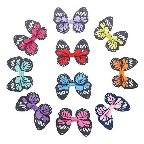 7Rainbow 10 Stück Ripsband Bänder Schmetterlings-Haarspange für Damen und Mädchen, Hochzeit, Dinner-Party, Haar-Clip, Spange, Accessoire(FS063-1)