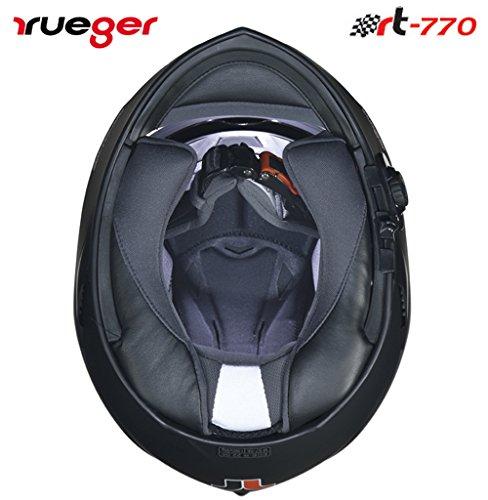 RT-770 Bluetooth Integralhelm Motorradhelm Integral Motorrad Quad Helm rueger, Größe:L (59-60), Farbe:Matt Schwarz - 5