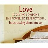 amar es dar alguien el poder pero ellos de confianza u amor dormitorio familia boda matrimonio u vinilo de pared grande pared vinilo decorativo de letras
