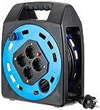 Uni-Elektra 11984 Kabeltrommel 404T, 25m Leitung H05VV-F 3G1.5, schwarz, IP20